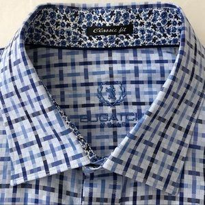 Bugatchi Uomo Classic Fit Check Shirt Blue - L